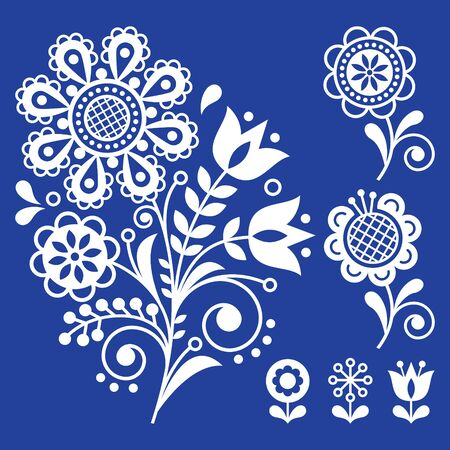 Scandinavian floral vector design elements perfect for invitation or greeting card, folk art vector ornament with flowers, white pattern on navy blue