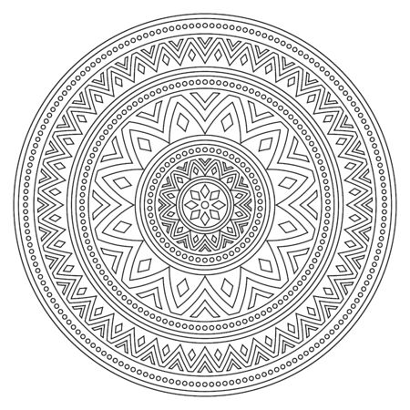 Mandala stroke bohemian vector pattern, creative zen round design in black and white perfect for adults coloring books