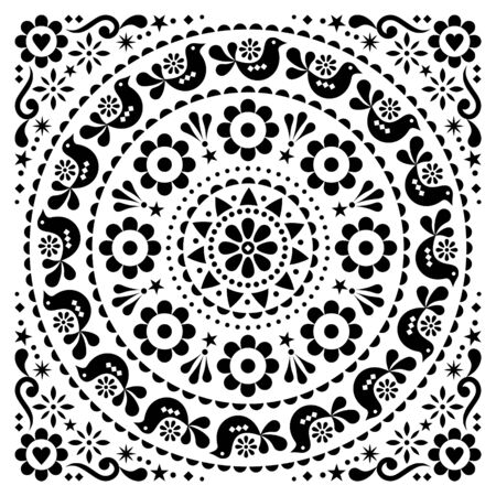 Scandinavian folk vector greeting card or inviation design floral mandala pattern with birds in black on white background