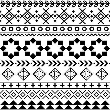 Tribal Aztec seamless geometric pattern, Navajo vector design in black pattern on white background Vecteurs
