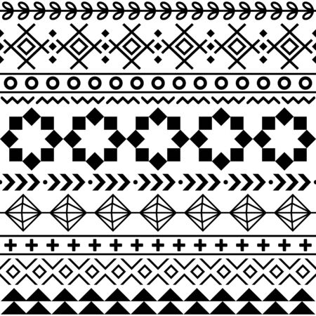 Tribal Aztec seamless geometric pattern, Navajo vector design in black pattern on white background Ilustrace