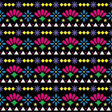 Mexican seamless vector pattern with flowers and abstract shapes - floral, happy textile or wallpaper design on black background