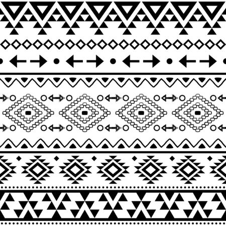 Tribal geometric Aztec seamless vector pattern, Navajo repetitive design in black pattern on white background