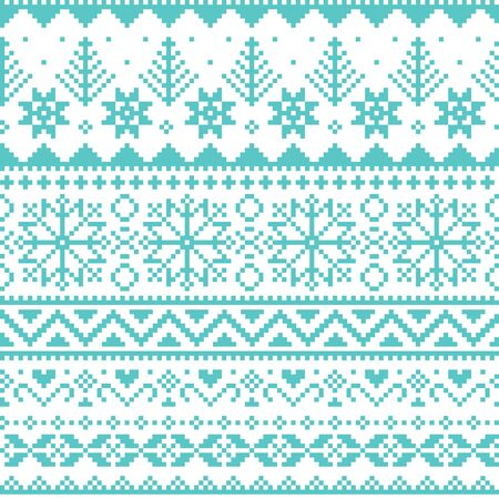 Winter, Christmas Fair Isle style traditional knitwear vector seamless pattern with snowflakes, trees and hearts Векторная Иллюстрация