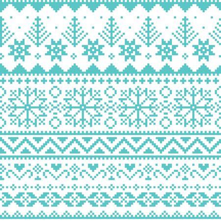 Winter, Weihnachten Fair Isle Stil traditionelle Strickwaren Vektor nahtlose Muster mit Schneeflocken, Bäumen und Herzen Vektorgrafik