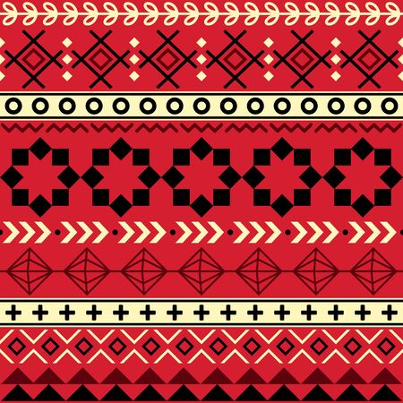 Tribal Aztec seamless geometric pattern, Navajo vector design in red, brown and black Ilustrace