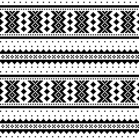 Winter cross-stitch vector monochrome pattern inspired by Sami people folk art in Lapland - Scandinavian Vecteurs