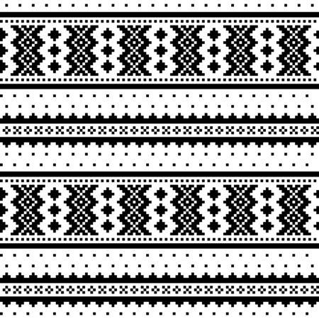 Winter cross-stitch vector monochrome pattern inspired by Sami people folk art in Lapland - Scandinavian Vector Illustration