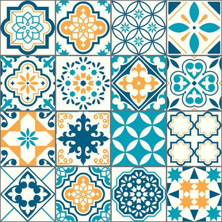 Portuguese or Spanish Azujelo vector seamless tiles design - Lisbon retro truquoise and yellow pattern, tile big collection