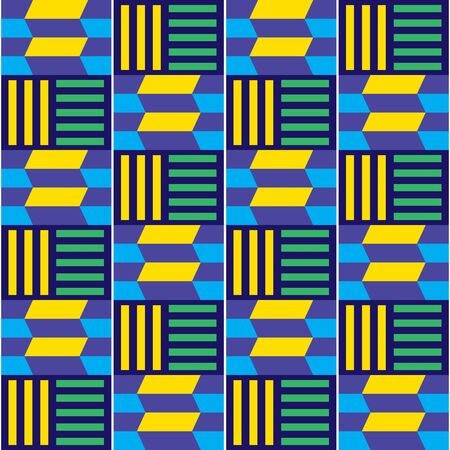 African tribal Kente vector seamless textile pattern, geometric design inspired by textiles from Africa