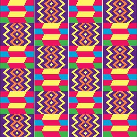 African Kente style vector seamless textile pattern, tribal design inspired by textiles from Africa