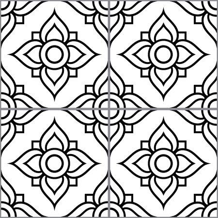 Azujelo vector design - Lisbon tiles seamless pattern, floral tile decor in black and white - Portuguese retro tile ornament, repetitve mosaic