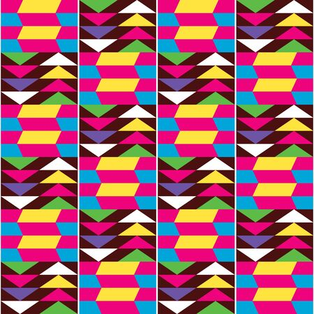 African Kente style vector seamless textile pattern, repetitive tribal design inspired by textiles from Africa 向量圖像