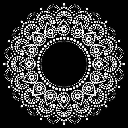 Bohemian mandala dot painting vector design, Aboriginal style, Australian folk art boho ornament white on black background 向量圖像