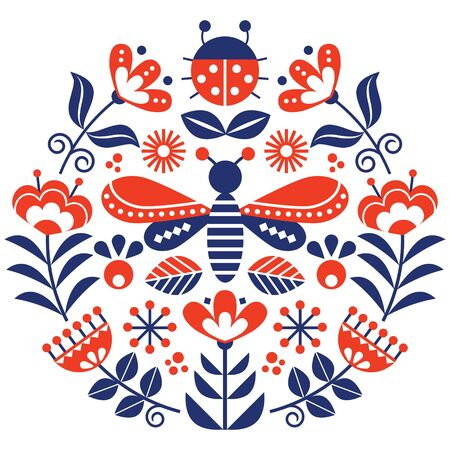 Scandinavian folk flowers vector design, cute spirng floral pattern with bugs, ladybird and fly inspired by traditional embroidery from Sweden, Norway and Denmark