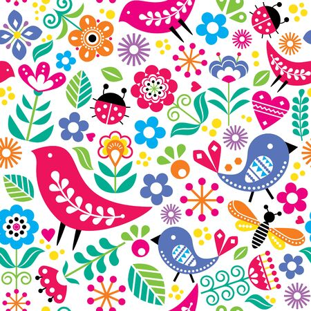 Scandinavian folk art vector seamless pattern with birds, flowers, spirng happy textile design inspired by traditional embroidery from Sweden, Norway and Denmark