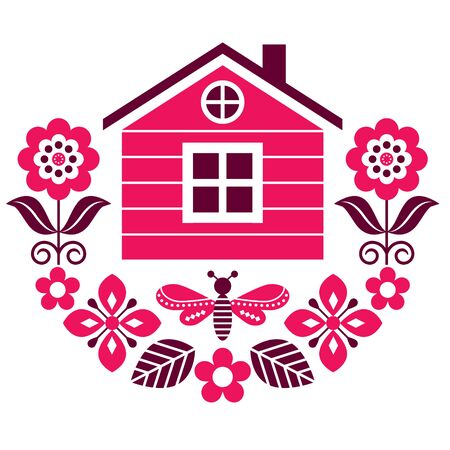 Scandinavian folk art vector cute floral pattern with Finnish or Norwegian house, greeting card with flowers in red and brown Illustration