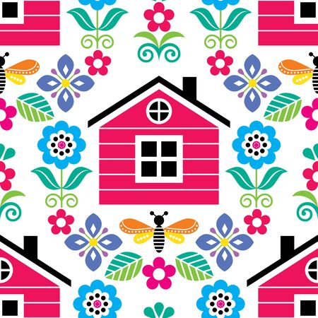 Scandinavian folk art seamless vector floral pattern with Finnish or Norwegian house, textile design with flowers in red, pink, green, blue 向量圖像
