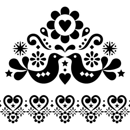 Valentines Day folk art vector design set for greeting card or wedding invitation - Scandinavian style patterns with birds, hearts and flowers