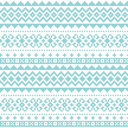 Fair Isle traditional knittting style vector seamless design, Scotish Shetland islands repetitive design Vettoriali