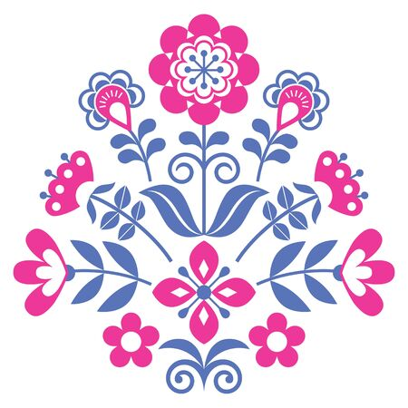 Floral Scandinavian folk art vector pattern, Nordic cute folk vector greeting card design with flowers, nature decoration inspired by traditional embroidery from Sweden, Norway and Denmark 向量圖像