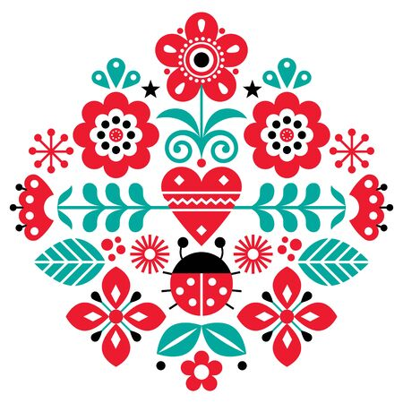 Scandinavian cute folk vector pattern with flowers and ladybird, spirng floral pattern inspired by traditional embroidery from Sweden, Norway and Denmark