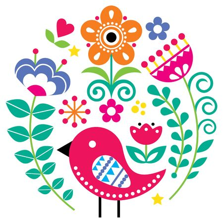 Scandinavian folk art vector pattern with flowers and bird in circle, floral greeting card or invitation inspired by traditional embroidery from Sweden, Norway and Denmark