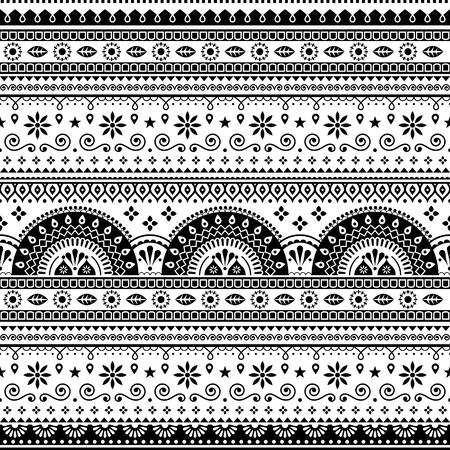 Pakistani or Indian vector seamless design inspired by truck art, vibrant pattern with geometric shapes and flowers