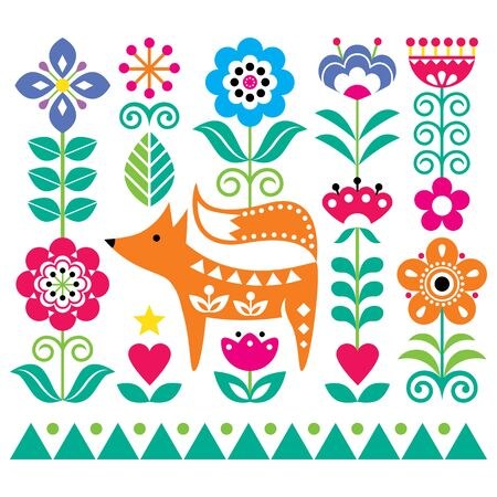 Scandinavian cute folk art vector pattern with flowers and fox, floral greeting card or invitation inspired by traditional embroidery from Sweden, Norway and Denmark
