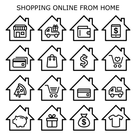 Shopping online from home vector icons set, online store, retail, take away, ordering food online, home delivery design collection