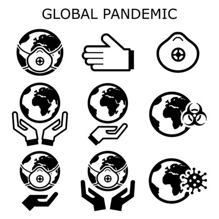 Global pandemic vector icons set, protecting the world from spreading a virus, globe in epidemic danger concept Vecteurs