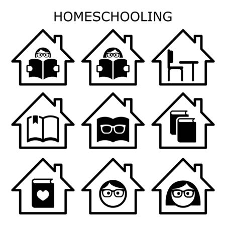 Home schooling vector icons set, home education design, children learning while stay stay at home concept