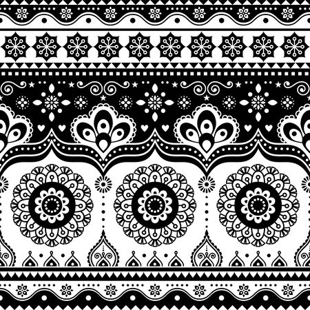 Pakistani or Indian truck art design, Jingle trucks seamless vector pattern, black and white floral repetitive decoration Stock Photo