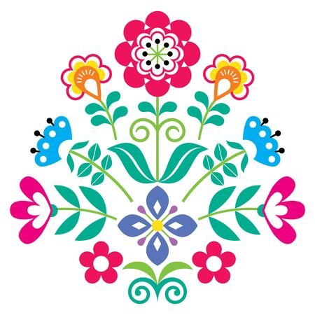 Floral Scandinavian folk art vector pattern, Nordic cute folk vector greeting card design with flowers, nature decoration inspired by traditional embroidery from Sweden, Norway and Denmark Ilustración de vector