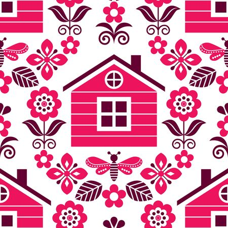 Scandinavian folk art vector round pattern with flowers and fox, floral greeting card or invitation inspired by traditional embroidery from Sweden, Norway and Denmark