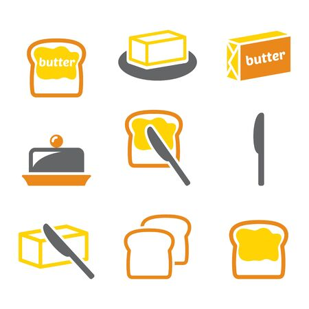 Butter or margarine spread on bread vector icons set - dairy, food design collection
