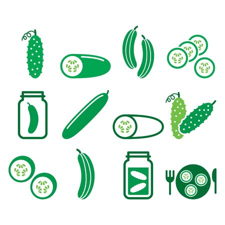 Cucumber, pickled, cucumber slices - healthy food vector icons set, green vegetable pictograms Ilustrace