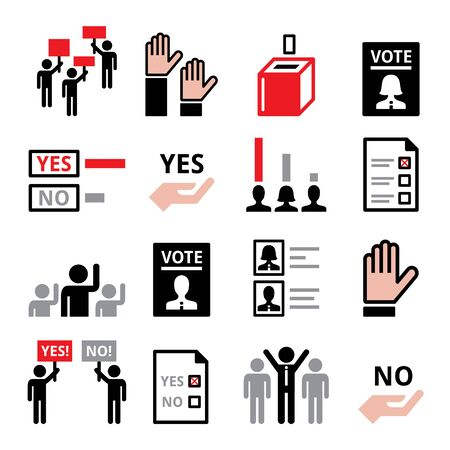 Democracy, voting for political party or new president, modern society with equal human rights vector icon set