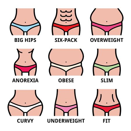 Women's body type, different size, body shapes vector icons set isolated on white Ilustração