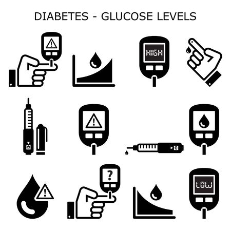 Diabetes, diabetic healthcare vector icons set - high and low sugar, glucose levels - hypoglycemia, hyperglycemia design 向量圖像