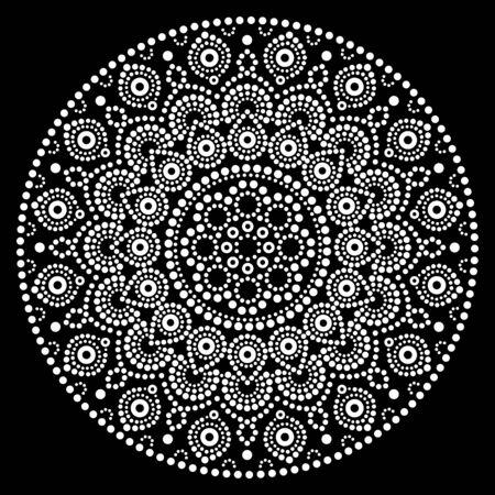 Mandala vector art, Australian dot painting white design on black, Aboriginal folk art bohemian style