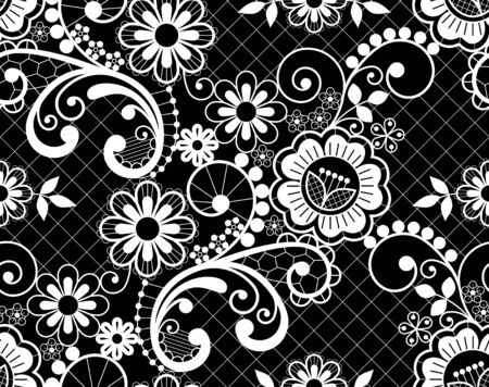 Seamless lace retro vector pattern - detailed repetitive design with flowers and swirls, ornamental background in white on black