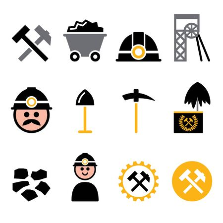 Coal mine, miner vector icons set - mining industry, coal production color design Illustration