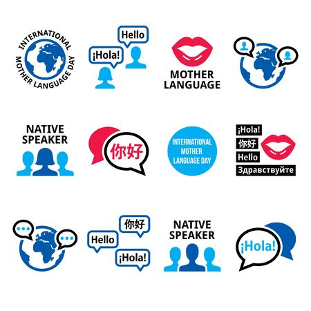 International Mother Language Day vector icon set, native speaker design collection 일러스트