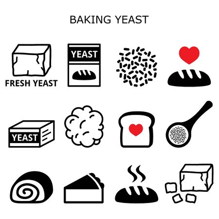 Baking yeast vector icons set - baking bread and cakes idea, yeast dough, beer and wine production Illustration