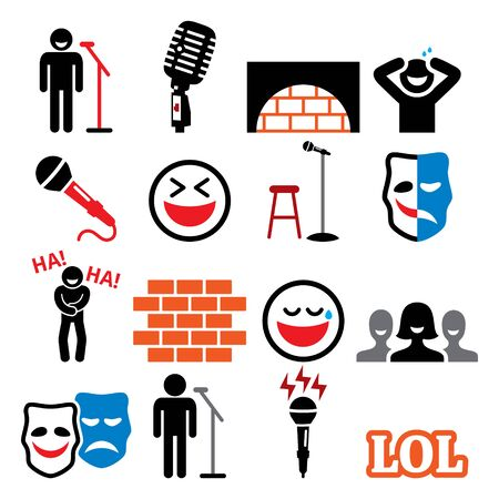 Stand up comedy, entertainment, comedians and people laughing vector icons set Ilustração