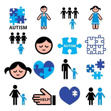 Zagadki świadomości autyzmu, autystyczne dzieci wektor zestaw ikon niebieski - koncepcja zdrowia