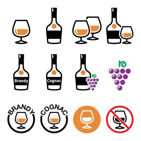 Brandy and cognac vector color icons set - alcohol design set Ilustracje wektorowe