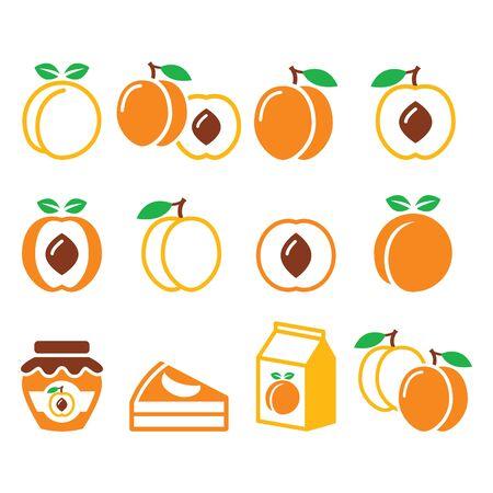 Peach, apricot, fruit icons set - food market design