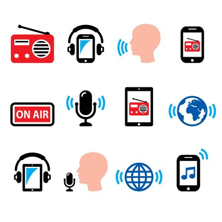 Radio, online podcast app on smartphone and tablet vector icon